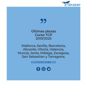 Nuevo curso auxiliar de vuelo TCP en Mallorca, Sevilla, Barcelona, Alicante, Vitoria, Valencia, Murcia, Jerez, Málaga, Zaragoza, San Sebastian y Tarragona: ¡Últimas plazas para el último trimestre de 2019!