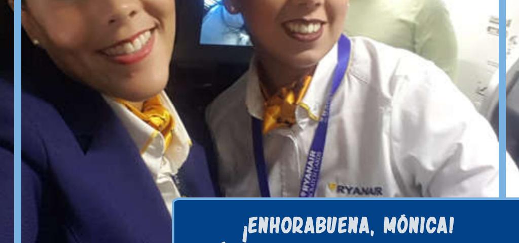 Mónica, alumna del curso TCP de Sevilla, ya es sobrecargo en Ryanair. ¡Enhorabuena!