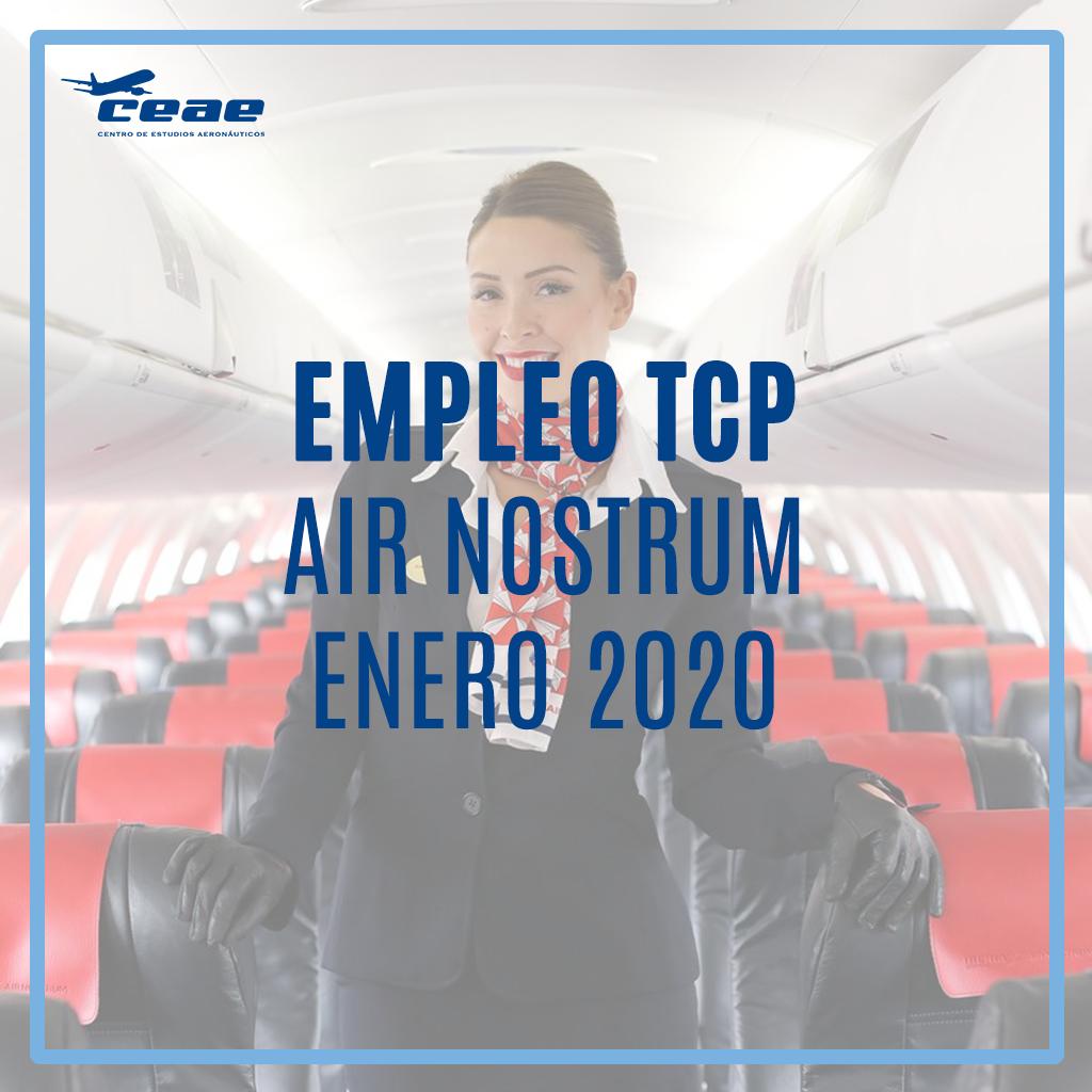 Oferta de empleo TCP: Jornadas de selección de Air Nostrum durante enero de 2020 en Valencia, Málaga, Bilbao y Almería