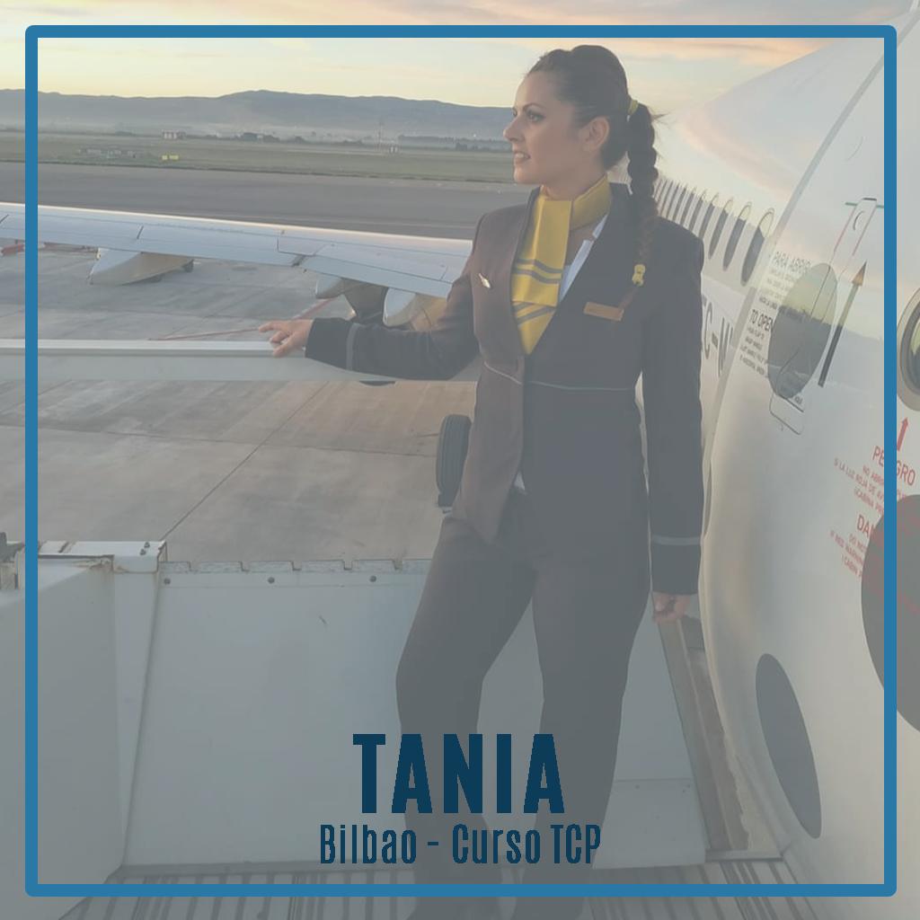 Entrevista a Tania, alumna de la promoción 131T de Bilbao y trabajando actualmente en Vueling como auxiliar de vuelo TCP