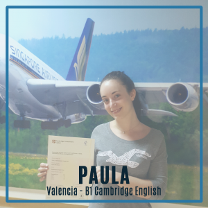 Entrevista a Paula, alumna de Valencia que ha obtenido su título oficial de inglés B1 Cambridge English.