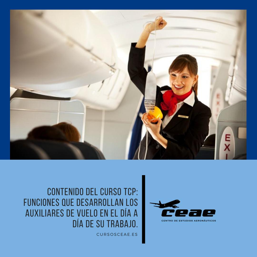 Contenido del curso TCP: Funciones que desarrollan los auxiliares de vuelo en el día a día de su trabajo