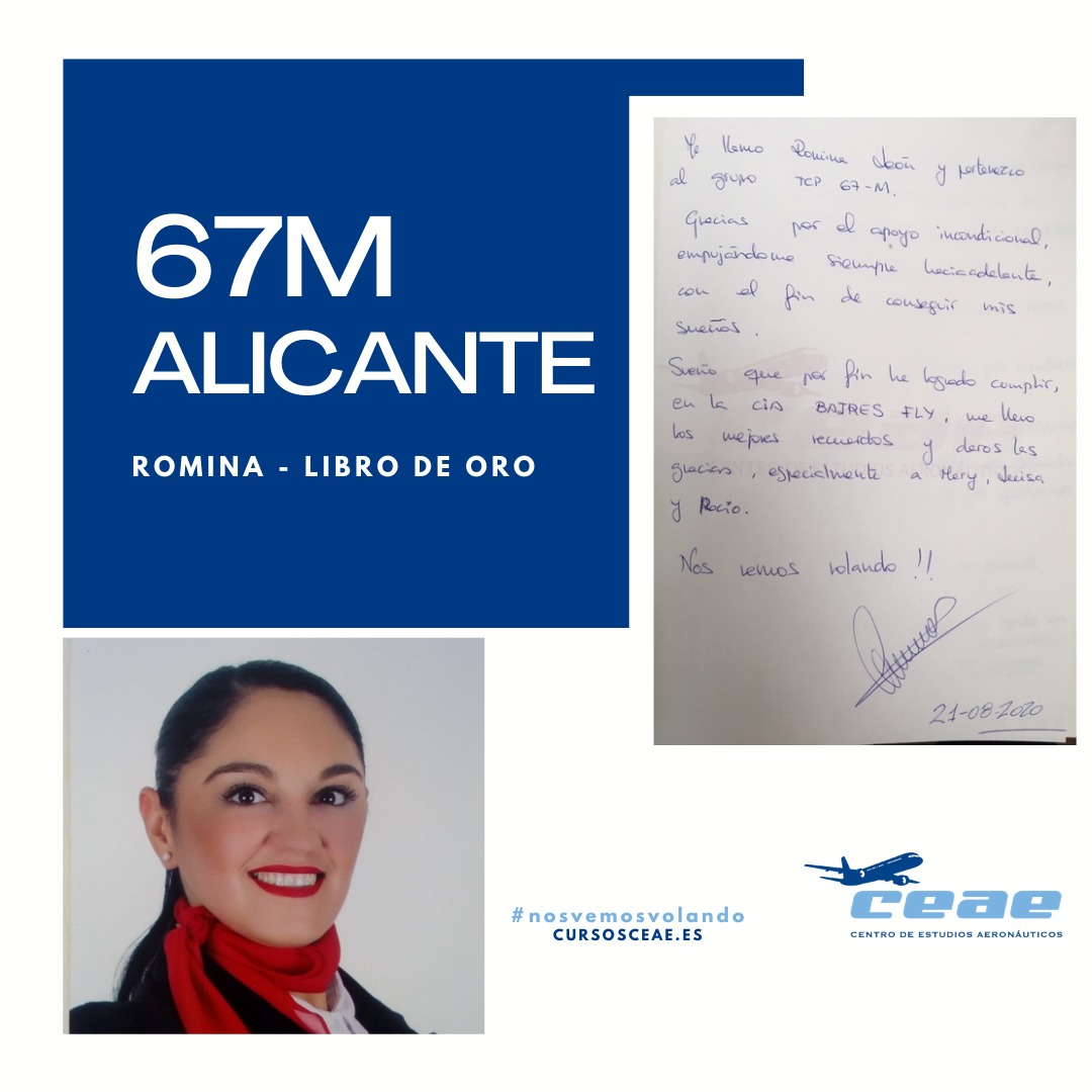 Agradecimiento de Romina, alumna de la promoción 67M de Alicante