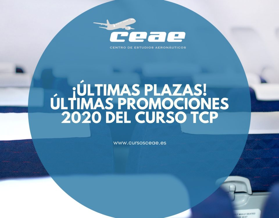 Últimas plazas para las promociones a finales de 2020 del curso Auxiliar de Vuelo TCP