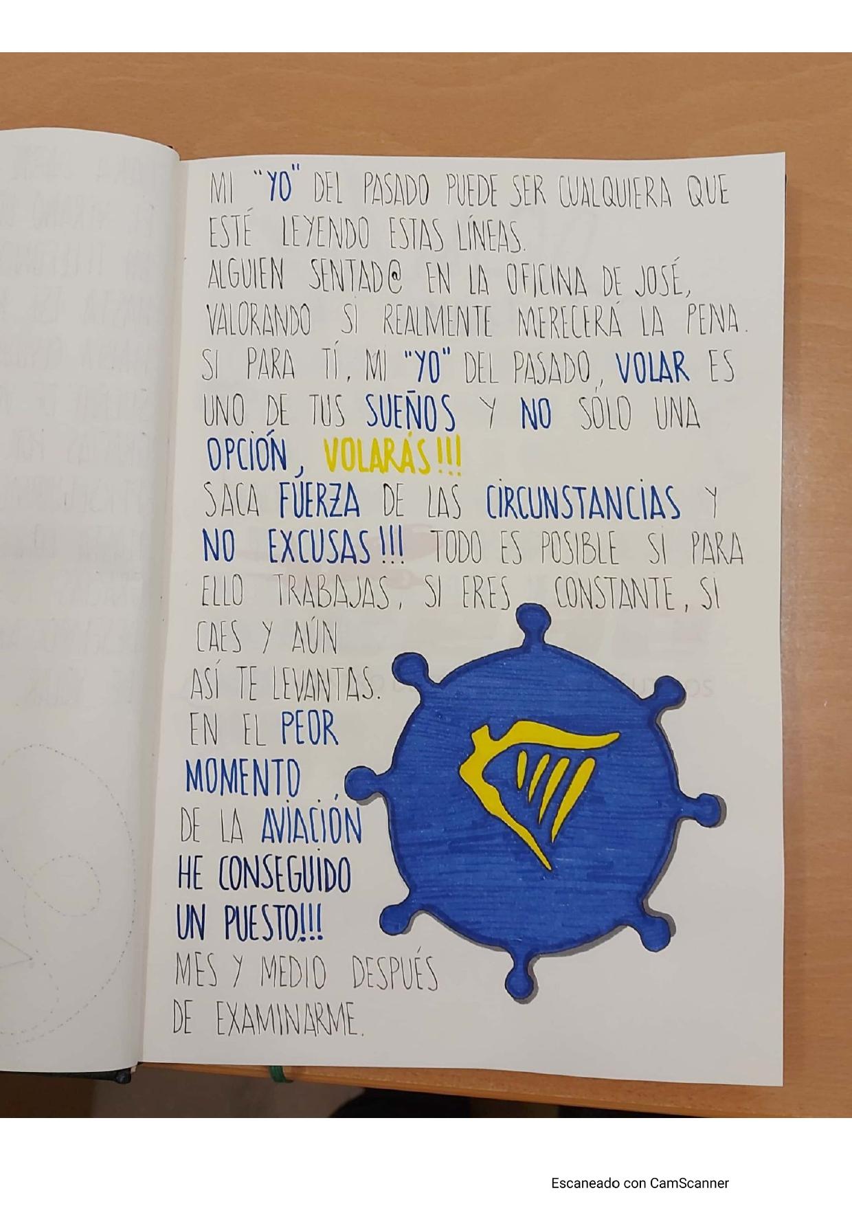 Agradecimiento de Beatriz, alumna de Almería, tras conseguir un puesto de trabajo como TCP en Ryanair en diciembre de 2020