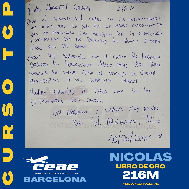 Comentario de Nicolás, alumno de la promoción 216M del curso TCP en nuestro Libro de Oro de Barcelona