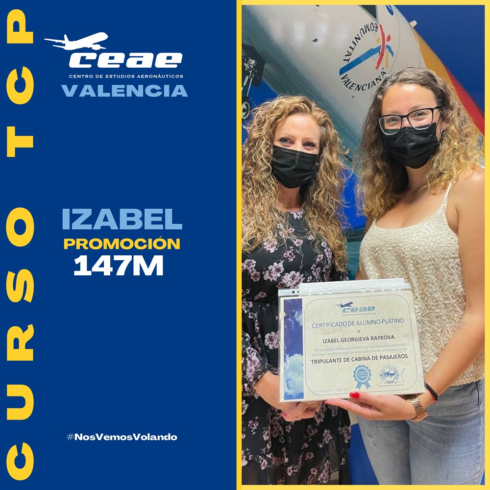 Enhorabuena a Izabel, alumna de la promoción 147M de Valencia, por conseguir un puesto de trabajo como TCP en Ryanair