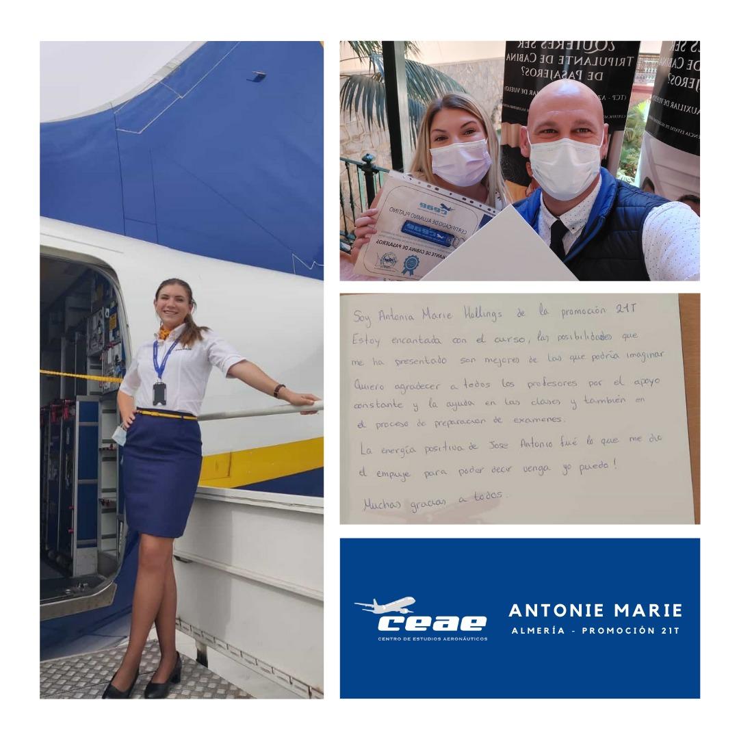 Testimonio de Antonia Marie, alumna de Almería, tras conseguir un puesto de trabajo como auxiliar de vuelo TCP en Ryanair