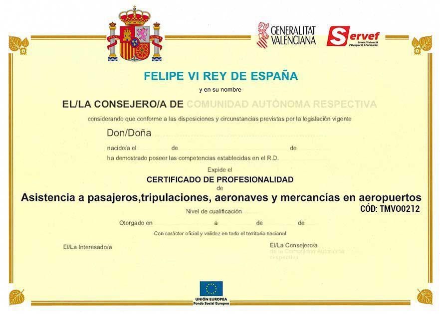Certificados del Curso de Técnico Cualificado de Aeropuertos